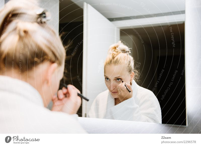 Woman applying make-up Lifestyle Luxury Elegant Beautiful Personal hygiene Make-up Mascara Young woman Youth (Young adults) 30 - 45 years Adults Fashion Blonde