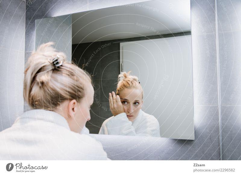 Woman applying make-up Lifestyle Luxury Elegant Style Beautiful Make-up Mascara Young woman Youth (Young adults) 18 - 30 years Adults Bathrobe Blonde