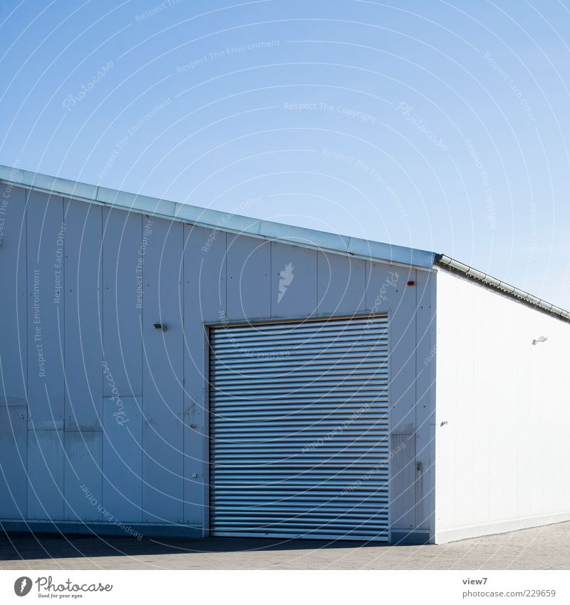 White Loneliness Wall (building) Wall (barrier) Metal Line Bright Closed Facade Beginning Modern Authentic Industry Stripe Logistics Simple