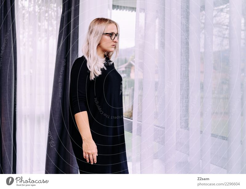 Youth (Young adults) Young woman Beautiful Loneliness Calm Black Lifestyle Adults Feminine Style Fashion Think Pink Elegant Blonde Stand
