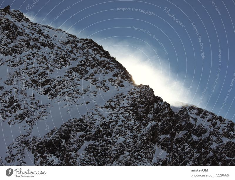rock meets sky. Environment Mountain Mountain ridge Slope Mountain range Hilltop Snowscape Snowdrift Snowstorm Beautiful weather Winter Winter vacation