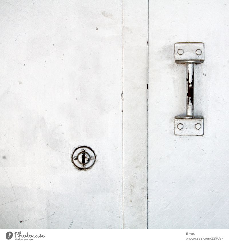 Old White Calm Metal Bright Door Elegant Closed Arrangement Esthetic Safety Metalware Protection Mysterious Watchfulness Lock