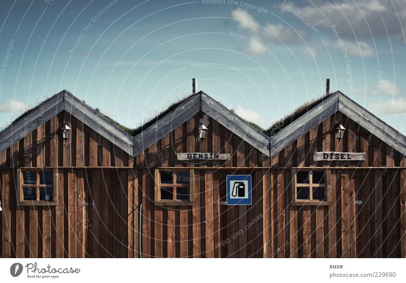 Oh, great House (Residential Structure) Environment Nature Sky Clouds Hut Facade Window Wood Signs and labeling Funny Blue Brown Iceland Wooden house