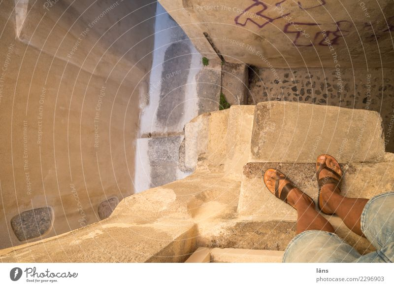 on the stairs Living or residing Flat (apartment) House (Residential Structure) Human being Masculine Man Adults Life Legs 1 Greece Village Small Town Old town