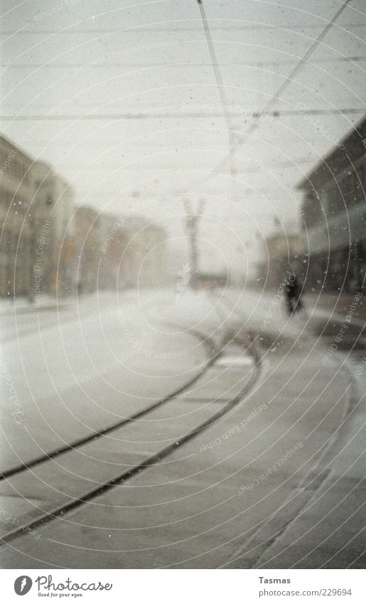 Silent Snow Bad weather Storm Snowfall Train station Cycling Bicycle Rail transport Train travel Railroad tracks Cool (slang) Cold Colour photo Blur