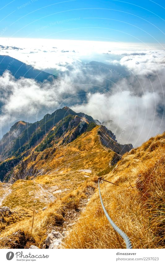 Via ferrata over the sea of clouds, the Alps Nature Vacation & Travel Summer Landscape Clouds Joy Mountain Lanes & trails Sports Stone Rock Hiking Action