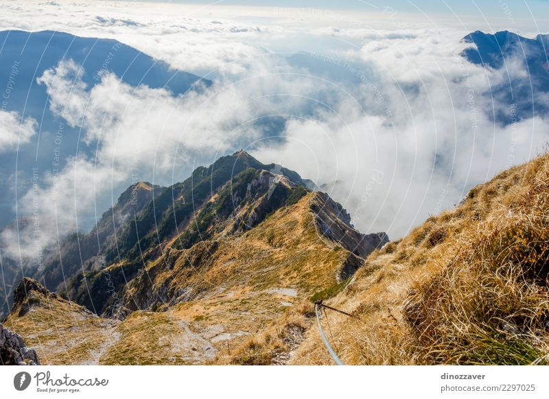 Via ferrata over the sea of clouds, the Alps Joy Vacation & Travel Adventure Summer Mountain Hiking Sports Climbing Mountaineering Rope Nature Landscape Clouds