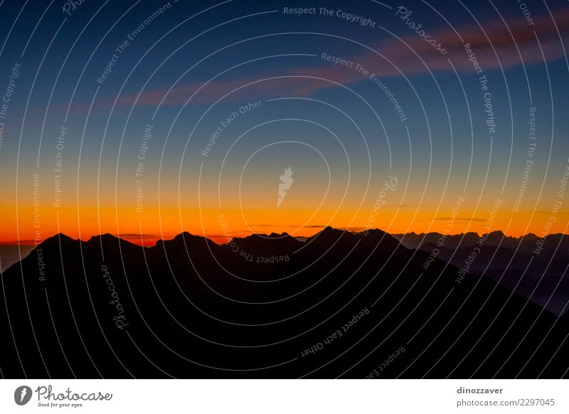 Mountain silhouette in sunset Joy Vacation & Travel Adventure Hiking Sports Climbing Mountaineering Rope Nature Landscape Rock Alps Lanes & trails Stone Steel