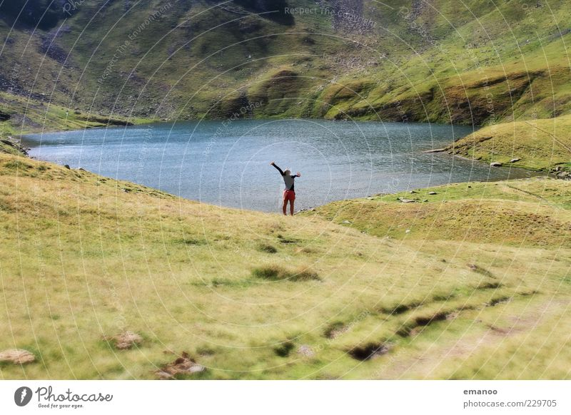 Human being Youth (Young adults) Vacation & Travel Summer Joy Calm Adults Far-off places Relaxation Meadow Landscape Freedom Mountain Happy Lake Contentment