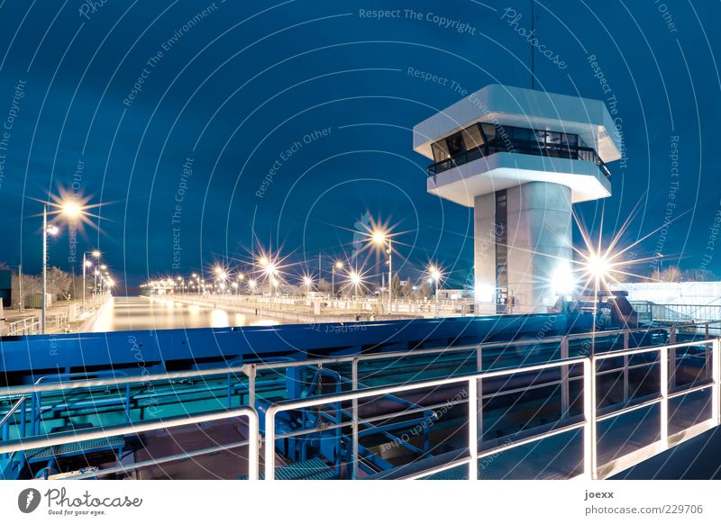 Blue Bright Large Tower Handrail Navigation Testing & Control Renewable energy Night sky Rhine Surveillance Hydroelectric  power plant Barrage Watch tower