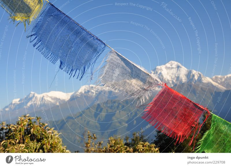 morning air Far-off places Mountain Environment Nature Landscape Elements Beautiful weather Wind Peak Snowcapped peak Flag Cloth Infinity Cold Climate Nepal