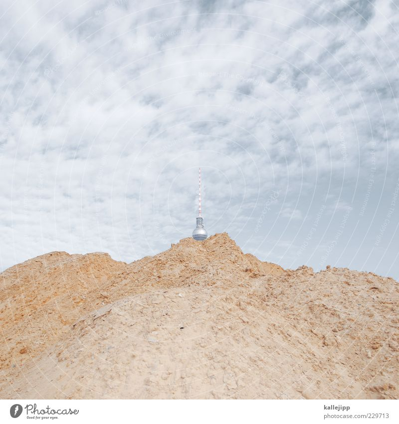 Sandbox Capital city Tourist Attraction Whimsical Mountain Hill Hip & trendy Television tower Colour photo Exterior shot Experimental Day Light Shadow Contrast