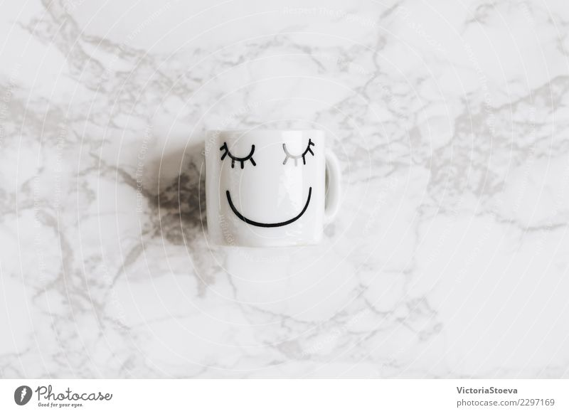 Top view of coffee cup Beautiful White Relaxation Joy Black Face Warmth Lifestyle Love Style Art Happy Brown Design Elegant Smiling