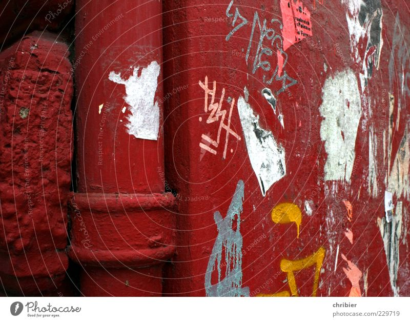 Red tube *** [HH10.1]*** House (Residential Structure) Building Wall (barrier) Wall (building) Facade Downpipe Corner Historic Broken Trashy Aggression
