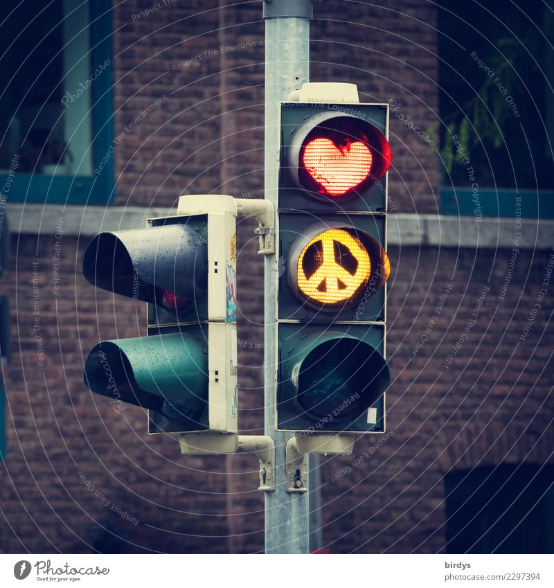 LOVE & PEACE Art Facade Transport Traffic light Road sign Sign Heart CND Illuminate Authentic Exceptional Positive Town Yellow Red Joie de vivre (Vitality)
