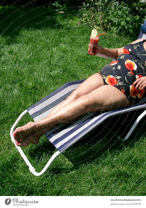 With drink Woman Beverage Sunbathing Slice of lemon Longdrink Couch Deckchair Tomato juice Swimsuit Naked Meadow Grass Green Pound Chic Summer Summer feeling