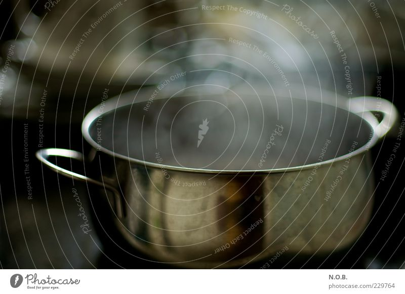 Cooking Single Pot Kitchen Dirty Comfortable Colour photo Interior shot Blur Shallow depth of field Steam Metalware Reflection Copy Space top