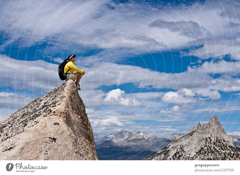 Hiker on the summit. Human being Woman Loneliness Adults Mountain Contentment Tall Hiking Adventure Dangerous Success Climbing Peak Discover Brave Athletic