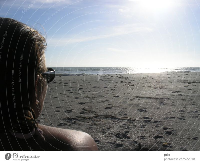 View into the distance Ocean Beach Woman Sun Sky Far-off places Looking Perspective