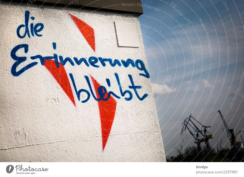 lasting memories Youth culture Port of Hamburg Wall (barrier) Wall (building) Harbour Crane Characters Graffiti Authentic Positive Town Blue Red White Optimism