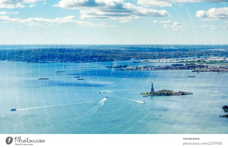 panoramic view of the Upper Bay in New York Vacation & Travel Tourism Ocean Island Logistics Nature Landscape Sky Horizon Coast River Skyline Harbour Monument