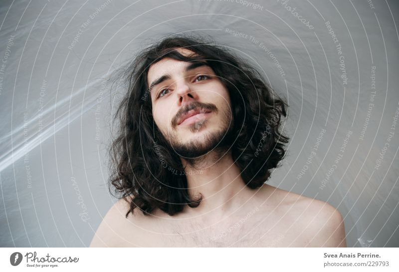Human being Youth (Young adults) Beautiful Adults Face Naked Hair and hairstyles Laughter Contentment Masculine 18 - 30 years Thin Smiling Facial hair Curl