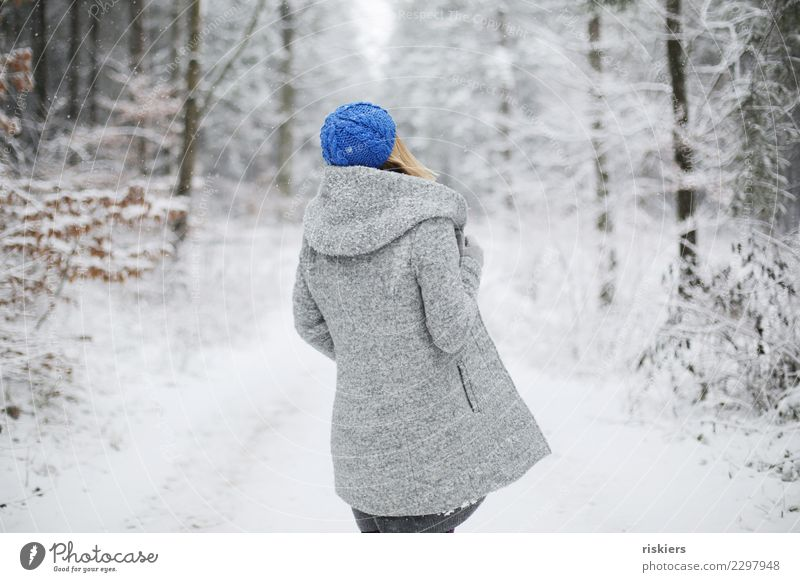 winter is back Human being Feminine Woman Adults 1 Environment Nature Winter Beautiful weather Snow Snowfall Forest Observe Relaxation Looking Stand Dream Wait