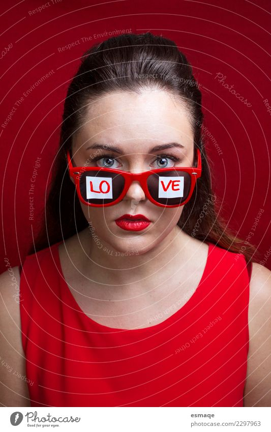 word love written on the sunglasses of a young girl Human being Youth (Young adults) Christmas & Advent Young woman Beautiful Red Lifestyle Healthy Love