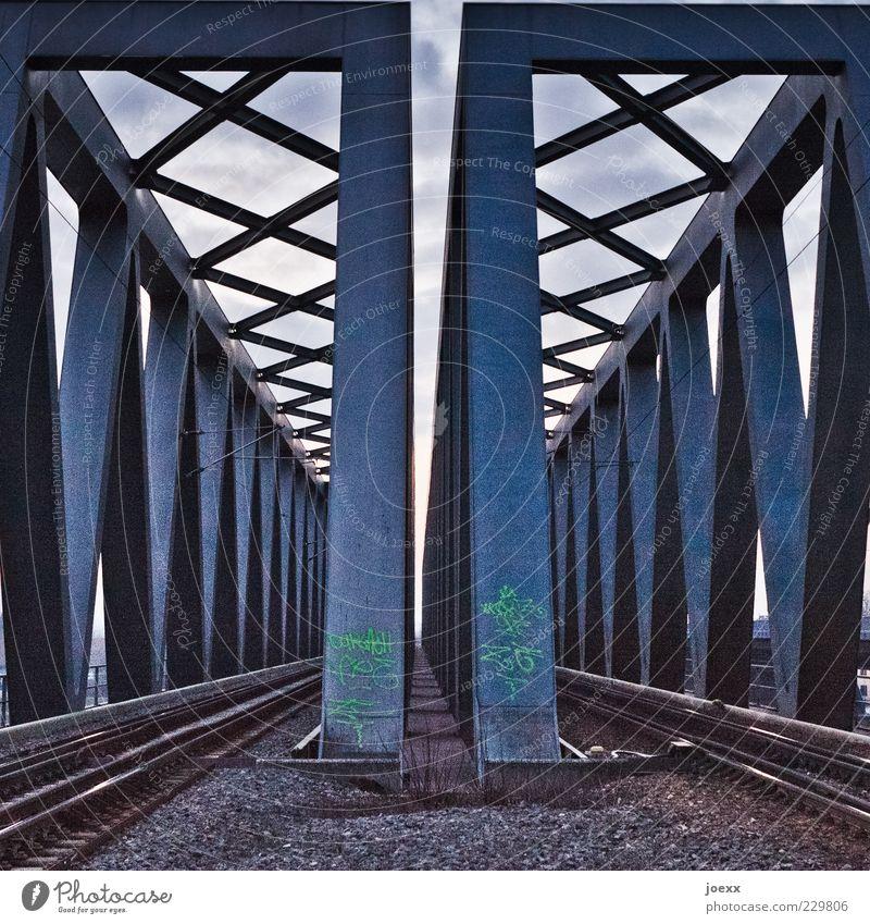 Blue Graffiti Gray Bridge Railroad tracks Steel Parallel Gravel Sharp-edged Massive Rail transport Steel construction Crossbeam Railway bridge Steel bridge