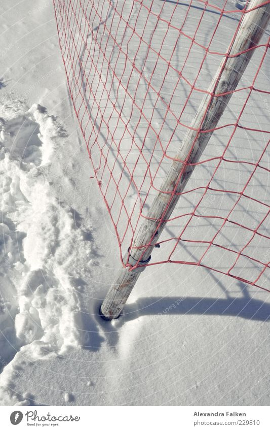Red Winter Cold Snow Net Tracks Fence Footprint Catching net Loop Barrier Reticular Snow layer Winter mood Fence post