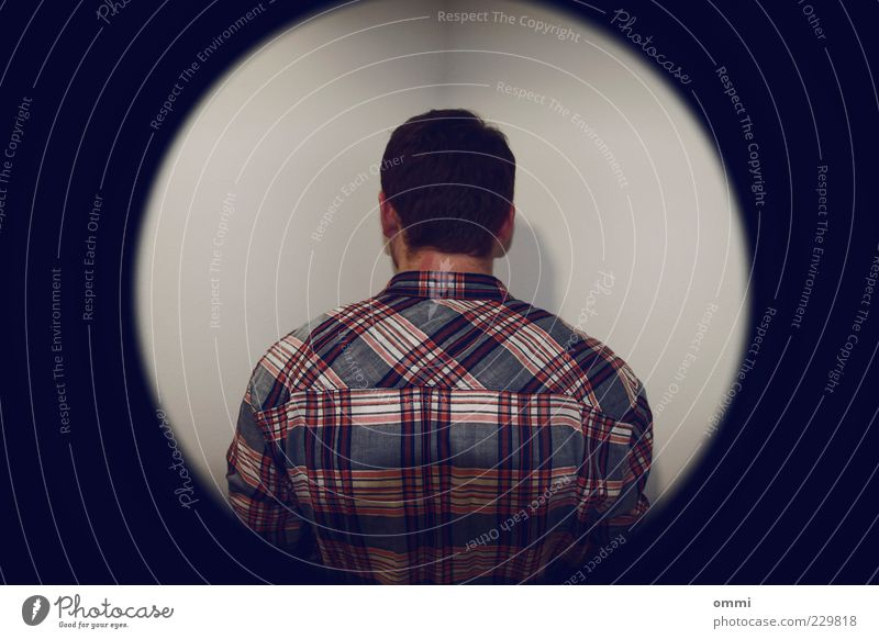 Human being Blue White Red Calm Loneliness Cold Wall (building) Back Masculine Stand Shirt Symmetry Checkered Bans Shame