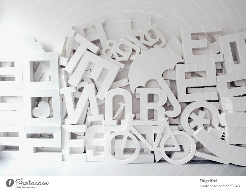 Designer playground* Decoration Build Typography Cardboard Letters (alphabet) Sign Umbrella Bicycle Heart Star (Symbol) Art Heap Many Digits and numbers