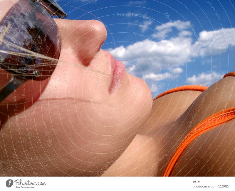 Woman Sky Sun Summer Face Bikini