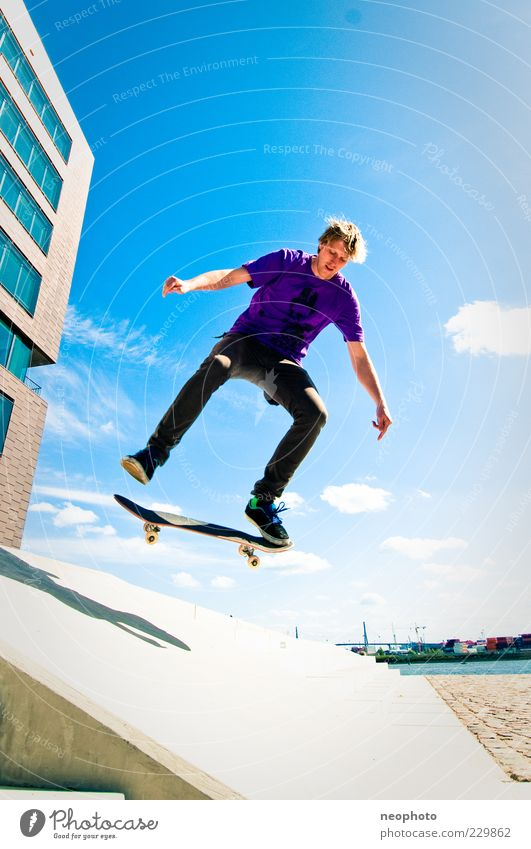 Sun Jump Leisure and hobbies Action Lifestyle Beautiful weather Skateboarding Skateboard Blue sky Trick Sports Sky