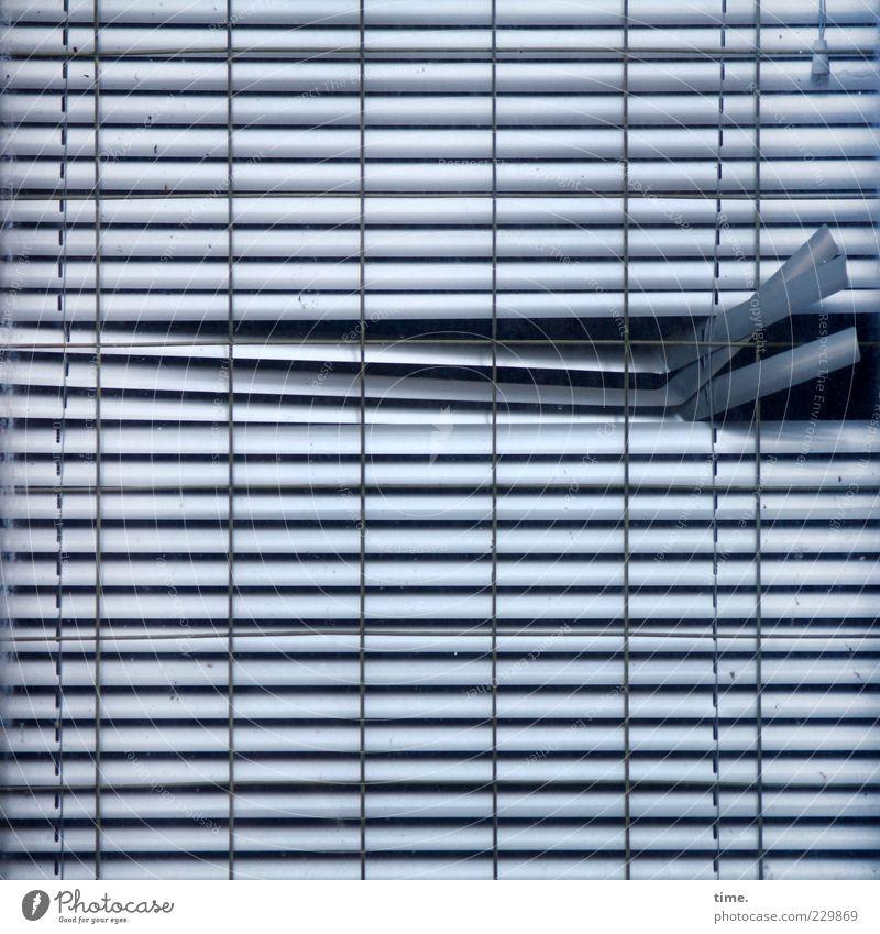 deviant Window Metal Old Hang Broken Blue Venetian blinds Roller blind Metalware Parallel Drape Concealed Closed Opening Hollow Slit Vertical Horizontal