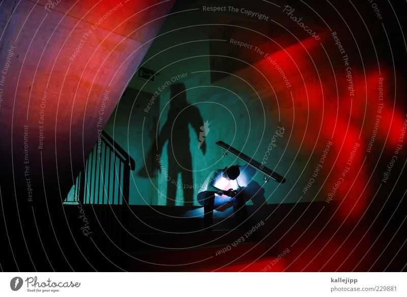 Human being Man Adults Sadness Dream Fear Sit Stairs Masculine Dangerous Safety Threat Fear of death Handrail Underground Tunnel