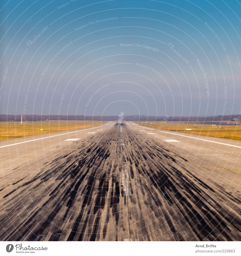 Far-off places Freedom Flying Aviation Tracks Airport Aircraft Blue sky Runway Airfield Places Right ahead Friction Skidmark In the plane