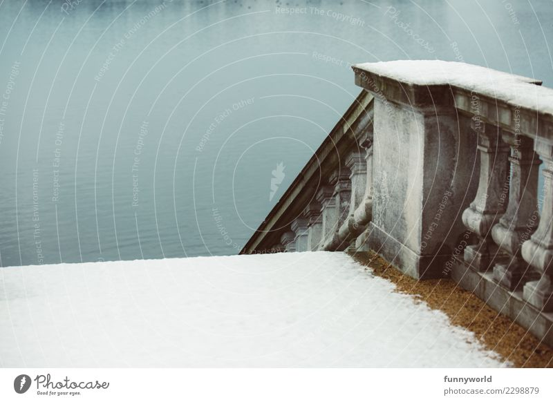 From snow to water Stairs Grief Death Distress Loneliness Apocalyptic sentiment Snow Handrail Historic Buildings Cold Lake River Water Banister Concrete Stone