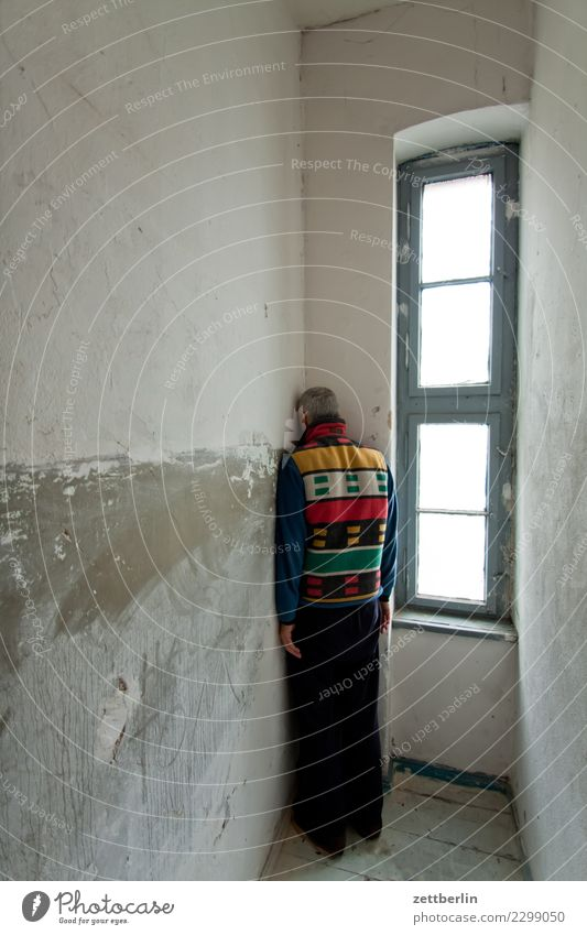 Human being Man House (Residential Structure) Window Wall (building) Copy Space Room Vantage point Stand Back Corner Shame Old building Timidity Discern