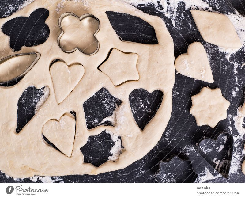 dough shape for baking cookies Dough Baked goods Cake Table Kitchen Heart Fresh Above Black White star Top Home-made background food Flour board Raw Cooking