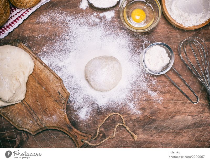 scattered wheat flour Dough Baked goods Bread Roll Bowl Table Kitchen Wood Eating Fresh Natural Brown White Yeast background Preparation food Ingredients