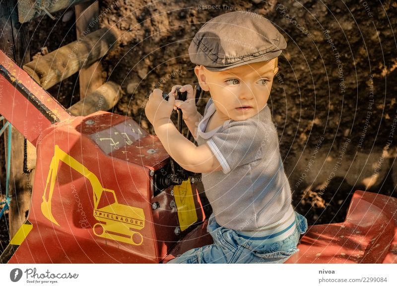 Child Human being Nature Red Environment Movement Boy (child) Fashion Think Trip Masculine Transport Infancy Adventure Curiosity Construction site