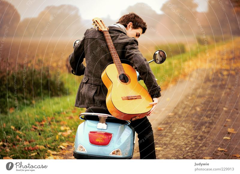 on the way Style Trip Freedom Human being Masculine Young man Youth (Young adults) Adults Life Youth culture Music Musician Guitar Environment Nature Landscape