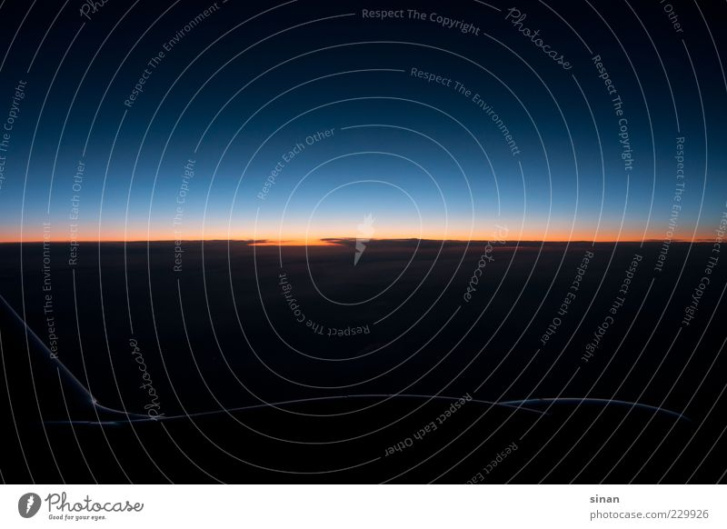 Heaven or space? Air Earth Sky Clouds Night sky Horizon Sun Sunrise Sunset Climate Airplane In the plane View from the airplane Esthetic Threat Dark Fantastic
