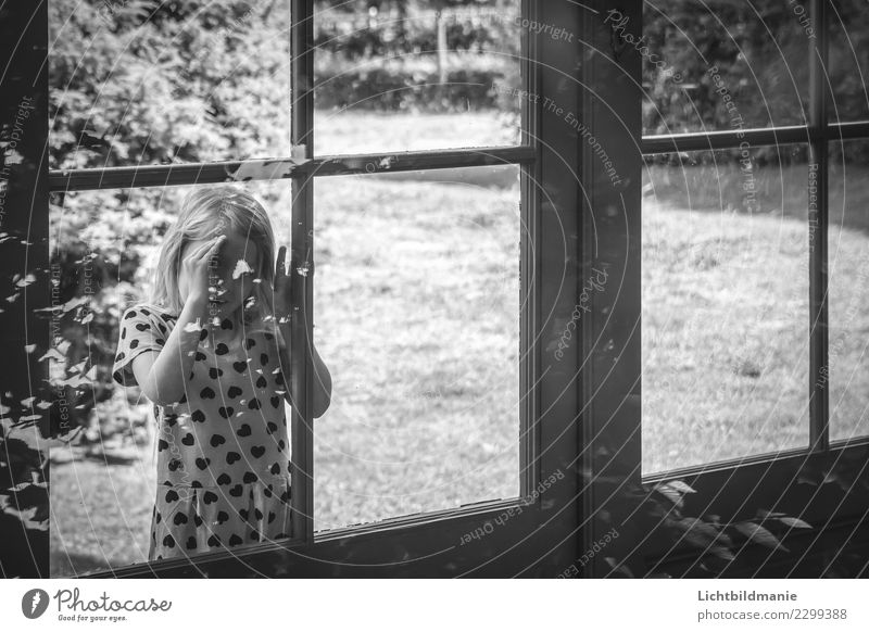 Girl looks through window Playing Children's game Trip Adventure Sightseeing Summer Flat (apartment) House (Residential Structure) Garden