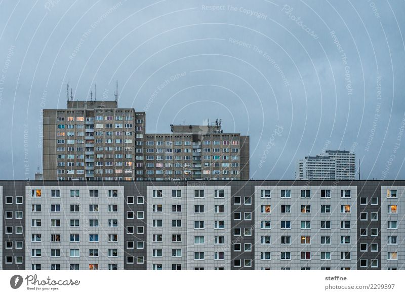 My Block I Clouds Town Populated House (Residential Structure) High-rise Living or residing Berlin Colour photo Subdued colour Exterior shot Deserted