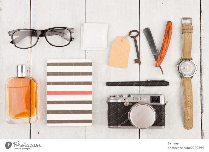 travel concept - set of cool stuff with camera and other things Vacation & Travel Man White Adults Fashion Office Vantage point Table Photography Observe Things