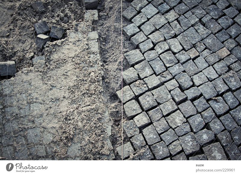 Lanes & trails Gray Sand Stone Arrangement Broken Floor covering Ground String Construction site Cobblestones Chaos Build Sharp-edged Half Insulation