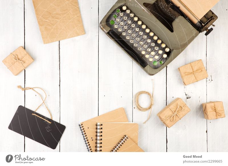 vintage typewriter, notepads, present boxes and mini blackboard Desk Table Blackboard Office Craft (trade) Business Rope Book Paper Pen Wood Signage