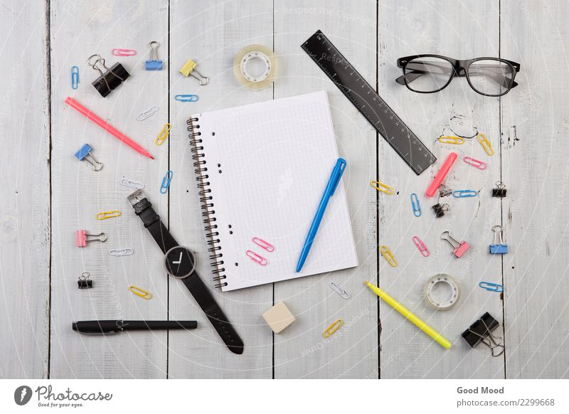 workplace with notepad, glasses, watch, pen Style Design Desk Table Work and employment Office Business Book Tie Paper Pen Wood Old Write Modern Above Retro